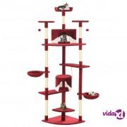 vidaXL Penjalica za mačke sa stupovima za grebanje od sisala 203 cm crvena i bijela
