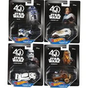 Hot Wheels Star Wars Character Cars 40th New Hope 4-Pack Chewbacca / R2-D2 Droid / Princess Leia & Storm Trooper Vehicle