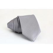 Pánská šedá slim kravata se stříbrnými pruhy - 6 cm