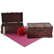 2er Set Holztruhe Geschenkbox Holzbox Schatztruhe Valence Antikoptik 13x29x14cm ~ Variantenangebot