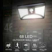 68 LED-es solar PIR mozgásérzékelős lámpa