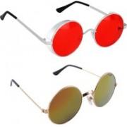 Rich Club Round Sunglasses(Red, Golden)