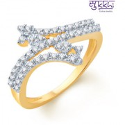 Sukkhi Beguiling Gold And Rhodium Plated Cz Ring