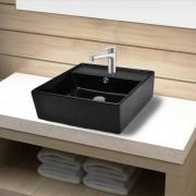 vidaXL Керамична мивка за баня с преливник, отвор смесител, черна, квадратна