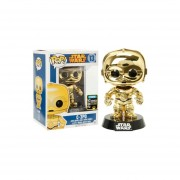 Funko Pop C-3po Metalico Dorado Exclusivo Star Wars Summer Convention Disney-Multicolor