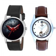 Black - Red Fancy Dial And Brown Peacock Feathers Colour Couple Casual Analogue Watch By Vivah Mart