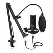 Fifine T669 Cardioid USB Condensor Microphone Arm Desk Mount Kit - Black