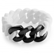 The Rubz Natural Silicone 20mm Unisex Bracelet White & Black