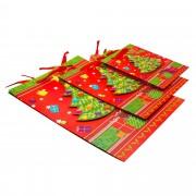 Set 3 pungi cadou TRI International, cu un brad 3D, carton, Multicolor, 24cm/32cm/42 cm