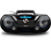Microsistem audio Philips AZB798T/12, 12 W, Tuner FM, CD, Caseta, DAB+, USB, Bluetooth, Display LCD, Negru