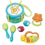 Kids Rhythm Rockers First Musical Band drum with drumsticks, Castanets