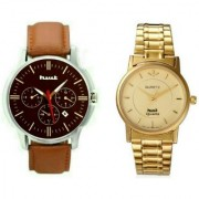Hwt metal and leather watch combo pack of 2 pcs for mens