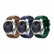 Set 3 curele din silicon universale 22mm compatibile cu Samsung Gear S2 / S3/ Huawei Watch 2, verde,albastru,maro