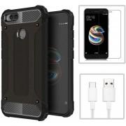 Funda Xiaomi Mi A1 + Cristal Templado + CABLE, TPU Y Policarbonato -Negro