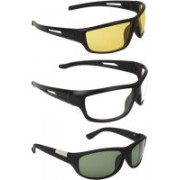 Zyaden Wrap-around Sunglasses(Yellow, Clear, Green)
