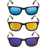 NuVew Wayfarer Sunglasses(Blue, Golden, Blue, Orange)