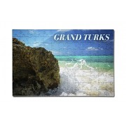 Grand Turks, Turk and Caicos Islands - Rocks and Wave (12x18 Premium Acrylic Puzzle, 130 Pieces)