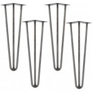 [en.casa]® Hairpin leg hajtűláb 45 cm stílusos asztalláb 4 darabos szett ezüst háromágú