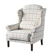 Dekoria Fotel Unique, ecru tło, niebieskie kratka, 85 × 107 cm, Avinon