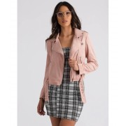 CheapChic Ride Along Faux Suede Moto Jacket Blush