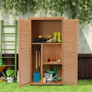 Outsunny® Geräteschuppen Gerätehaus Geräteschrank 4 Fächer Natur