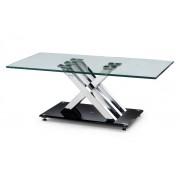 X-Frame Glass & Chrome Coffee Table