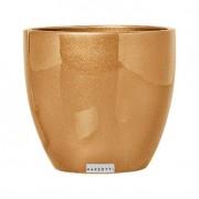 Cachepot M de Cerâmica 15,5cm Dourado Mazzotti