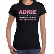 Bellatio Decorations Naam cadeau t-shirt / shirt Adrie - the supergirl zwart voor dames