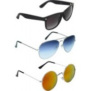Zyaden Wayfarer, Aviator, Round Sunglasses(Black, Blue, Multicolor)