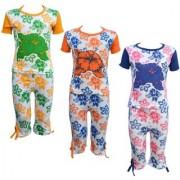 Eazy Trendz Baby Girls Mindblowing Floral Printed Half Sleeve Top & Bottom Tshirt and Capri Super Set of 3