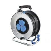 Prelungitor electric pe tambur metalic 3 prize 33m cablu cauciuc 3x2,5 mm², pentru exterior IP44