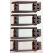 Lego Animal Minifigure Accessory: Dark Bluish Gray Horse Hitching (Set of 4)
