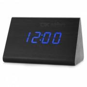 BSTUO Reloj de alarma LED de escritorio con control de sonido digital de madera - Negro