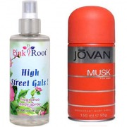 Jovan Orange Musk for Men 150ml and Pink Root High Street Gals Fragrance body Spray 200ml Pack of 2
