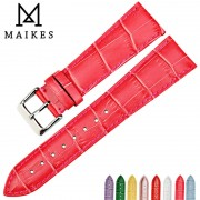 MAIKES New fashion rose red watchbands 16 18 19 20 22mm genuine leather watch strap watch bracelet for Seiko watch band