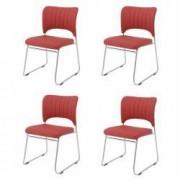 Set 4 scaune bucatarie CB S-12 culoare Rosu Metal cromat