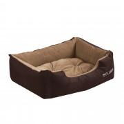 [en.casa]® Pelíšek - pro kočičky a pejsky - s oboustranným polštářem - oxford látka / PP-bavlna - 50 x 38 x 17 cm [S] - tmavě hnědý / světle hnědý