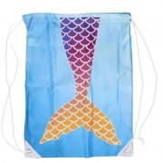 Merkloos Blauw gymtasje met paars/oranje zeemeermin schubben print