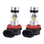 Romirofs 2 unids/Set H8 H9 H11 H16 6000K 1000lm 100 W Bombillas de luz antiniebla de LED de Alta Potencia LED de Alto Brillo Bombillas de luz Externa para Autos universales