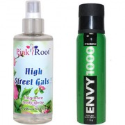 Envy Force Perfume Body Spray 120ml and Pink Root High Street Gals Fragrance body Spray 200ml Pack of 2