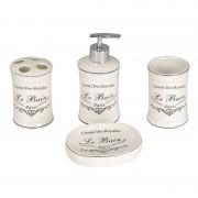 Set accesorii baie, 4 piese, imprimeu Le Bain France
