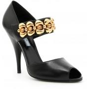 Prada Sandals With Embellished Buckle NERO+ORO