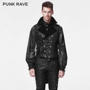 Punk Rave Gothic Dark Baroque Tail Vest Black Y-596