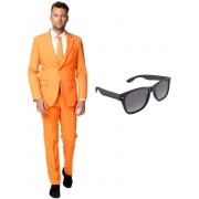 Oranje heren kostuum / pak - maat 46 (S) met gratis zonnebril