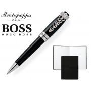 Set Caduceus Black Ballpoint Pen by Montegrappa si Note Pad Black Hugo Boss