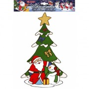 Kerst raamsticker Kerstman en Sneeuwpop