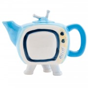 Ceainic ceramica alb albastru model televizor 18 cm x 8 cm x 14 cm