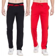 Cliths Sport Active Wear For Men- Trackpants Lower For Men Casual Stylish Pack Of 2 (Black Red)