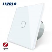 Intrerupator simplu cu touch Livolo din sticla - protocol ZigBee, alb