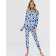ASOS DESIGN cute panda long sleeve tee & legging pyjama set-Blue